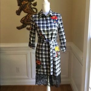 NICOLE MILLER Gingham Embroidered Shirtdress NWT